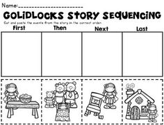 Goldilocks And The Three Bears (Kindergarten Sub Plans) includes goldilocks story sequencing and other activities that align to the story. Easy prep common core activities that are perfect for a sub. Common Core Activities, Sequencing Activities, Book Activities, Camping Activities, Sequencing Worksheets, Story Sequencing, Traditional Tales, Traditional Stories, Bears Preschool