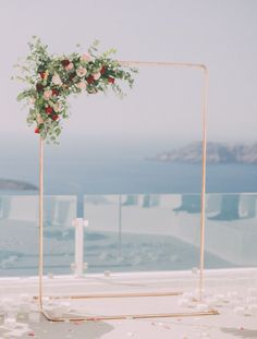 Industrial wedding arch- Tie the knot in Santorini