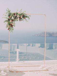 Industrial copper wedding arch- Tie the knot in Santorini