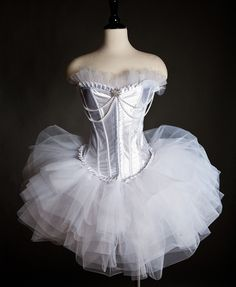 Custom size White Tulle Burlesque Corset Prom Dress