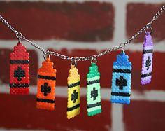 Crayola Style Crayon Perler Bead Necklace