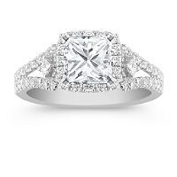 Halo Princess Cut and Round Diamond Engagement Ring with Pave Setting