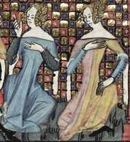 1338-44, French.  From the Romance of Alexander; fol 121r  Left: dark blue or gray long-sleeved undergown with laced-up sleeves, pale blue short-sleeved gown with tippets. Right: long-sleeved blue undergown with buttoned sleeves, pink and gold parti-colored overgown with tippets.