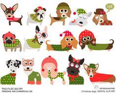 Navidad perros clip digital arte parte 1 para Personal y comercial use - descarga instantánea