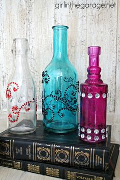 Bejeweled Bottles {Pinterest Inspired Craft from Michaels} girlinthegarage.net #MPinterestParty