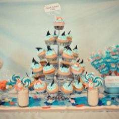 "Shark party - with salt water taffy, shark cupcakes & ""shark-kebabs"" of gummies. Boy Birthday Parties, Birthday Ideas, Birthday Boys, Kid Parties, Summer Birthday, 12th Birthday, Birthday Celebrations, Themed Parties, Happy Birthday"