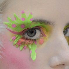Neon Runway Makeup  {Manish Arora 2014} #neonmakeup #runwaymakeup