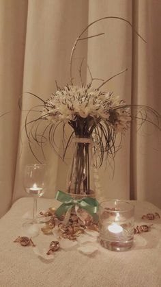 DIY centerpiece with silk flowers and branches