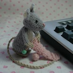 Knitting Mouse hand knitted amigurumi by TheHunnyBunnyCompany