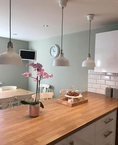Wall colour farrow and ball mizzle kitchen ideas kitchen wall colors, Green Kitchen Walls, Kitchen Wall Colors, New Kitchen, Kitchen Dining, Living Room Paint Colours, Wooden Worktop Kitchen, Blue Kitchen Paint, Light Green Kitchen, Kitchen Feature Wall