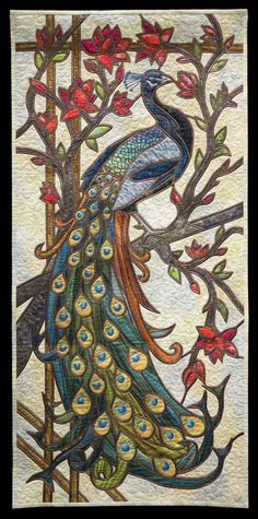 Peaceful Peacock by Collette Dumont (Quebec, Canada).  Best Miniature Quilt, 2014 Vermont Quilt Festival