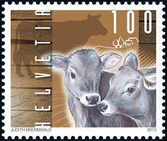 Swiss special stamp: Farmyard animals – Cow www.postshop.ch/philatelie