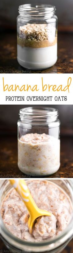 Bread Protein Overnight Oats -- just 5 healthy ingredients & of protein! Eat dessert for breakfast without any guilt!Banana Bread Protein Overnight Oats -- just 5 healthy ingredients & of protein! Eat dessert for breakfast without any guilt! Weight Watcher Desserts, Healthy Breakfast Recipes, Clean Eating Recipes, Healthy Snacks, Healthy Baking, Healthy Protein, Protein Bread, Healthy Brunch, Healthy Breakfasts