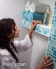 Tile a Shower: Shelf Keep shower supplies and towels dry and close at hand, just where you need them. http://www.familyhandyman.com/tiling/tile-installation/tile-a-shower/view-all