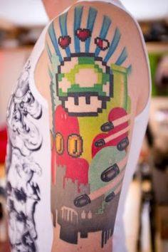 #8bit #videogames #tattoo tribute.   Photo by Lisa. Tattoo by Mina.