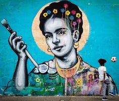 "Had to share this beautiful photo by Fred Adams of ""Frida"" a collaboration with yarn bomber @villanaart in London, UK - 2016 #zabou #streetart #art #urbanart #arturbain #artderue #london #hackneywick #frida #fridakahlo #villana #fredadams"