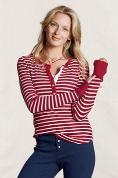 Canvas Women's Striped Henley Pajama Top from Lands' End