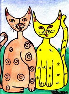 """Couple Cat"" Abstract Pop Wall Art ""Richard Cortez!"" Valuable Original Painting #PopArt"