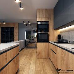 Kitchen Wood Design, Contemporary Kitchen Design, Kitchen Cabinet Design, Interior Design Kitchen, Modern Interior, Modern Kitchen Interiors, Home Decor Kitchen, Diy Kitchen Storage, Kitchen Tools