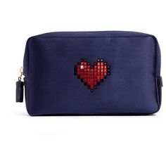 Anya Hindmarch Heart embellished satin cosmetics pouch ($385) ❤ liked on Polyvore featuring beauty products, beauty accessories, bags & cases, blue and anya hindmarch