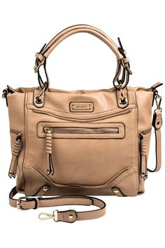 """This chic satchel bag offers dual top handles and zippers galore! It is both fashionable and easy to wear with an adjustable and removable shoulder strap. It has two inside zip pockets and special places for a cell phone and more. The gold tone hardware contrasts with the buff colored vegan leather. Made by Coco  Carmen.  Measures: 11"""" H x 15"""" W x 4.5"""" D  Juliana Satchel Bag by Coco  Carmen. Bags - Satchel Boulder Colorado"""