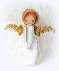 Hand painted wood Angel ornament or decor  gold by suziehayward