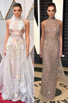 HAILEE STEINFELD changes from Ralph & Russo into a nude halter with glittery dotted overlay and Neil Lane jewels fortheVanity Fairafter party.