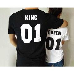 King and queen matching couples tshirt fashion fun printed bff shirt... ($30) ❤ liked on Polyvore featuring tops, t-shirts, black tee, black top, black boyfriend tee, boyfriend top and black shirt