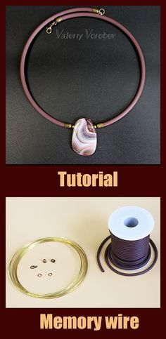 Memory wire. Step by step tutorial for beginners Memory wire may be presented in different sizes, that's why it can be used for different purposes. Usually it is used for making bracelets and necklaces. You can choose the appropriate color and thickness for you. Today we will use the wire which diameter is 12 cm and thickness is 0,8 mm Wire Necklace, Wire Wrapped Necklace, Wire Wrapped Pendant, Wire Jewelry, Handmade Jewelry, Necklaces, Making Bracelets, Jewelry Making, Wire Weaving Tutorial