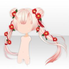 (Hairstyle) Camellia with Buns on Twin Tails Hair ver.A red.jpg