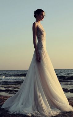 Featured Dress: Christos Costarellos; Wedding dress idea.