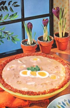 Creamed Eggs in Corned Beef Crust  and the hyacinths make that swill so much more appetizing