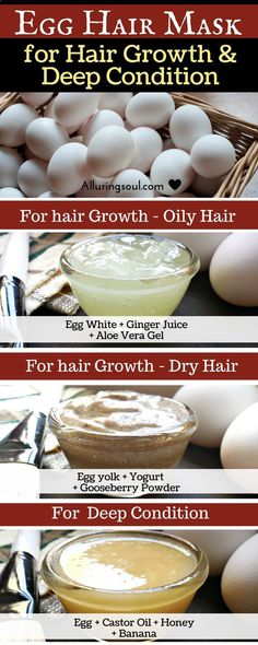 Hair Mask - Egg mask for hair is an effective way to nourish your scalp and also get a healthy hair growth. It conditions hair deeply and make it silky smooth and strong. #scalpdetoxforhairgrowth
