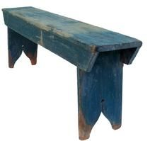 Mid 19th century Pennsylvania  Splayed leg Bench with wonderful old blue paint, nailed construction with square head nails,