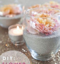 DIY flower and sand romantic centerpiece // Romantikus hangulatú tavaszi dekoráció virágokkal és homokkal // Mindy - craft tutorial collection //