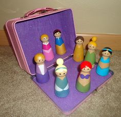 Box of Princesses made from pegs. I would like to attempt this!