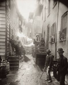 Mulberry Street, New York City, 1888 -Jacob Riis - I lived on Mulberry Street and this actually looks kinda familiar though most of these tenements are gone.