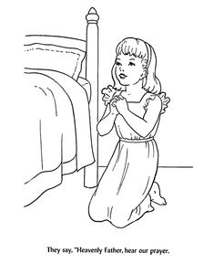 Back To School Coloring Pages | Children at Bedtime prayer Coloring Activity Sheets | Heavenly Father ...