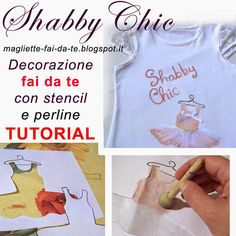Maglietta fai da te con decorazione shabby chic - DIY tutorial shabby chic t-shirt decorations, baby dress ideas