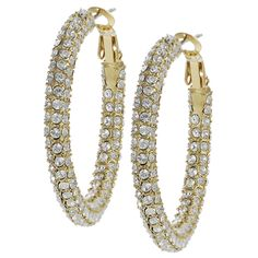 Journee Collection Goldtone Base Crystal Hoop Earrings | $28.99