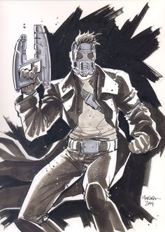 NYCC 14 sketch - Star-Lord by marciotakara Comic Drawing, Cartoon Drawings, Cartoon Art, Marvel Fan, Marvel Comics, Comic Character, Character Design, Gardians Of The Galaxy, Avengers Drawings