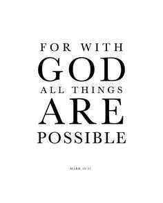 Med Gud är allt möjligt. Även det som känns jobbigt, tråkigt och väldigt läskigt! Jesus håller dig i handen och ber ett beskydd över dig! -vilket fantastiskt hop