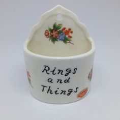 Vintage Genuine Bone China Rings N Things Mini Wall Pocket Jewelry Holder Japan #ebay #wallpocket