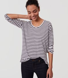 Thumbnail Image of Color Swatch 0473 Image of Striped Drop Shoulder Tee