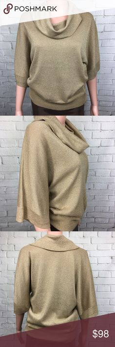 MICHAEL KORS Gold Dolmain Top Perfect for a NEW YEAR party!! Beautiful shimmery gold top with oversized fit. Light knit material. Great condition Michael Kors Tops