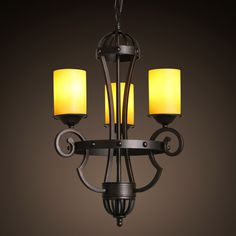 American country Pendant Lights vintage restaurant dining room lamp European classical garden iron candle three antique LU818368