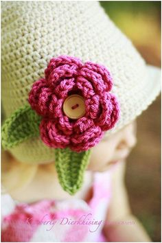 Ravelry: 6 Petal, 2 Layer Flower with Leaf color photo tutorial) pattern by Salena Baca Crochet Adult Hat, Knit Or Crochet, Cute Crochet, Crochet Motif, Crochet For Kids, Beautiful Crochet, Crochet Baby, Crochet Things, Crochet Flower Patterns