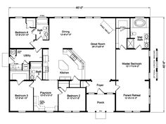 Palm Harbor Homes floor plans for a 2338 Sq Ft House in Millersburg, Oregon. View The Timberridge plans for your manufactured, modular or mobile home. Metal Homes Floor Plans, Metal House Plans, Modular Home Floor Plans, Pole Barn House Plans, Open House Plans, Metal Building Homes, Pole Barn Homes, House Floor Plans, Building A House