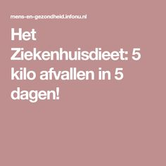 Het Ziekenhuisdieet: 5 kilo afvallen in 5 dagen! Smoothie Detox, Smoothies, Slim And Fit, Food For Thought, Food Videos, Healthy Lifestyle, Food And Drink, Yummy Food, Beauty