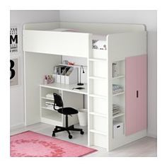 IKEA - STUVA, Loft bed with 2 shelves/2 doors, white/green, , You can assemble the desk parallel, perpendicular, or complete with 2 ADILS legs for a free-standing desk.